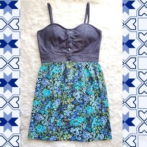 Alyn Paige dress padded country floral  denim top